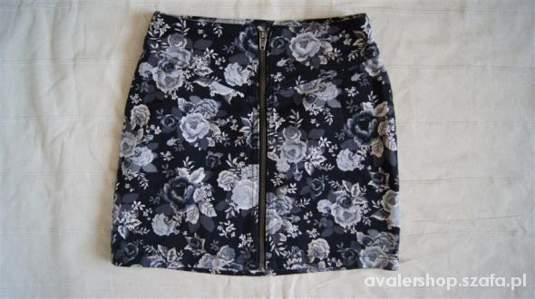 Spódnice znana spódniczka kwiaty floral zip h&m M