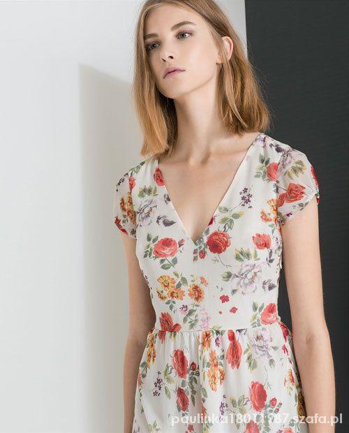 Suknie i sukienki zara floral romantic dress sukienka w kwiaty