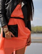 Morelowa brzoskwiniowa sukienka neon