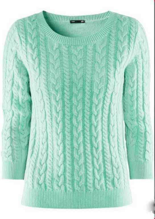 Miętowy sweterek z warkoczem H&M
