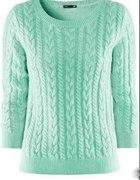 Miętowy sweterek z warkoczem H&M...