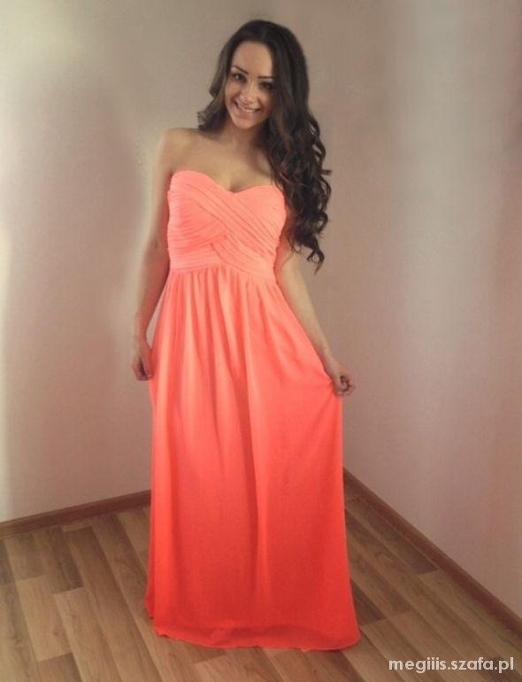 NEONOWA sukienka MAXI długa szyfonowa cudoo w Suknie i