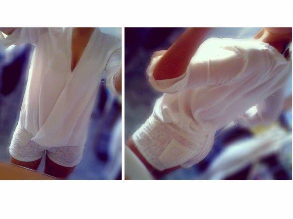 Mój styl koszula kopertowa i koronkowe spodenki