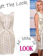 Biała sukienka ze złotymi ćwiekami Katty Perry...