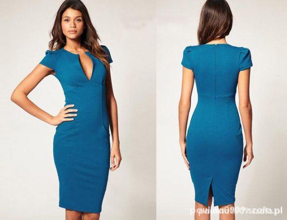 5926b078 Nowa niebieska ołówkowa sexy klasyczna w Suknie i sukienki - Szafa.pl