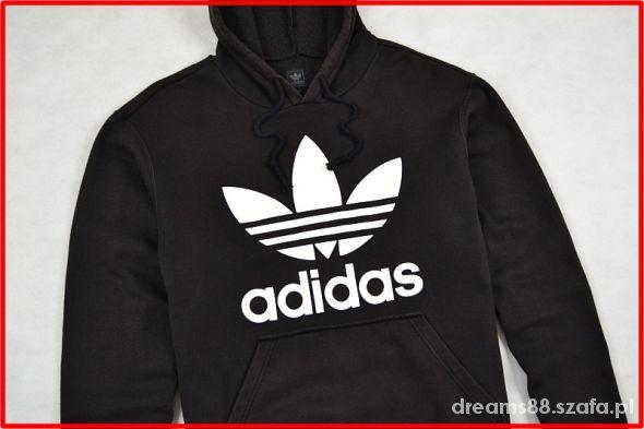 Bluza adidas czarna duze białe logo S