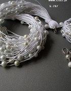 bizuteria artystyczna białe ecru perły ślub lato