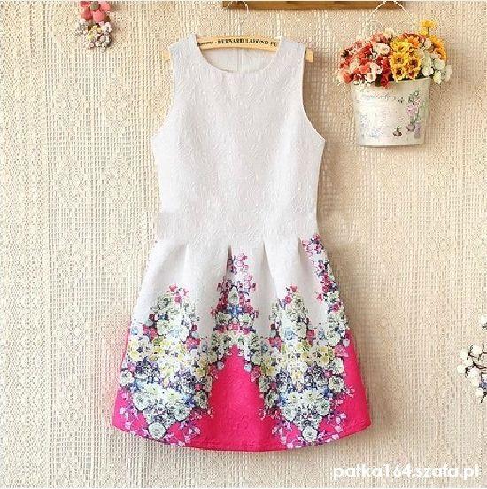 Suknie i sukienki WYSYLKA GRATIS sukienka żakardowa kwiaty 36 s