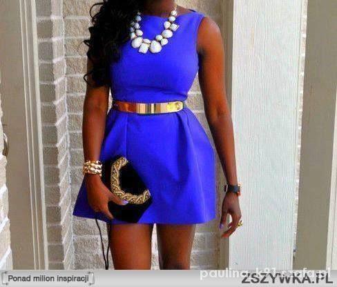 chabrowa kobaltowa sukienka