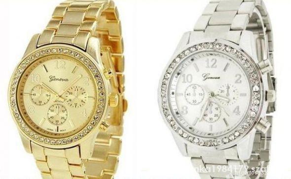 Zegarek srebnyzłoty z cyrkoniami