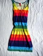 Rainbow tęczowa tunika ściągana w talii H&M
