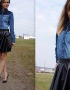 Black Skirt & Jeans Shirt