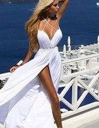 zwiewna biała suknia