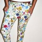 Spodnie baggy jeansowe w kwiaty z zamkiem hit