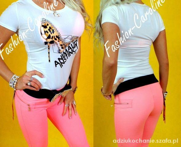 Różowe spodnie złoty zip