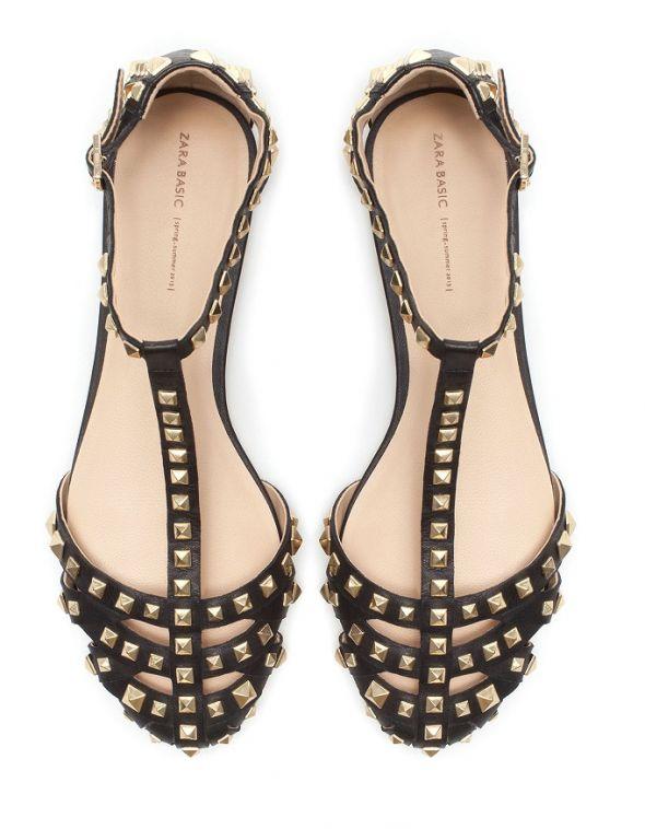 Sandały ZARA czarne ćwieki