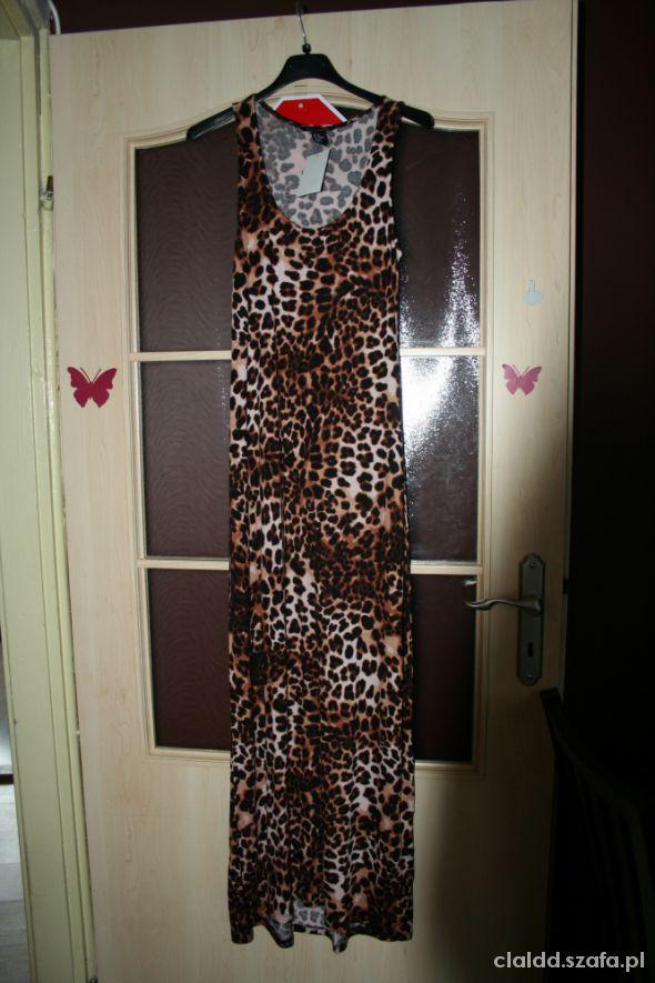 Sukienka maxi H&M w panterkę