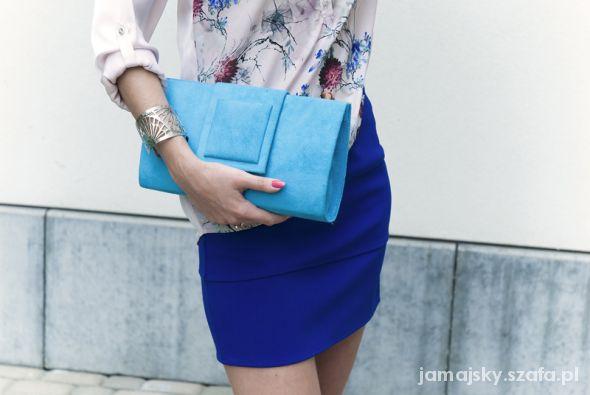 Eleganckie Kobaltowa spódnica zmysłowa bluzka