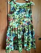 Sukienka rozkloszowana floral łączka ala zara dres...