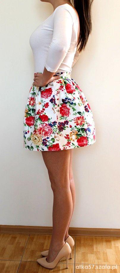 spódnica floral kwiatki bombka rozkloszowana 38M w Spódnice