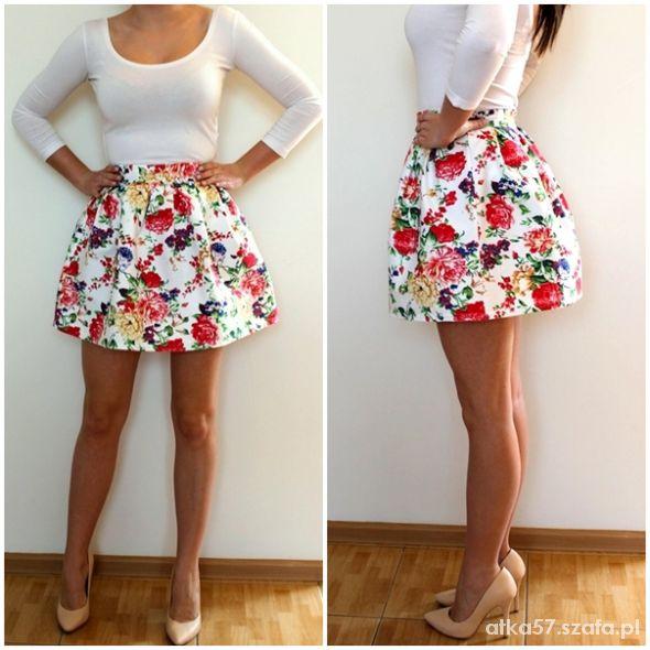 Spódnice spódnica floral kwiatki bombka rozkloszowana 40L