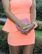 Nowa Zara sukienka z baskinką neon 36 S Doda