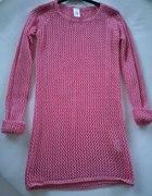 Neo różowy sweter tunika ażurowy Diverse S
