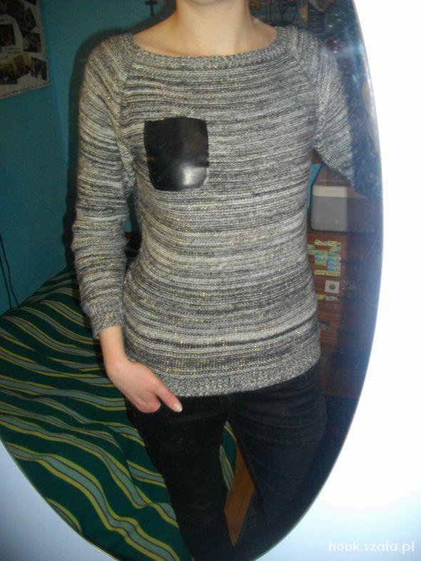 Codzienne Sweter ze skórzaną kieszonką