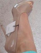 nowe szpilki MANGO 38 i 39 open toe nude