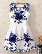 Sukienka floral kwiaty róże rozkloszowana