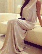 sukienka maxi dluga nude wesele