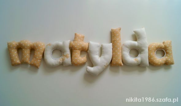 Bawełniany napis literki na życzenie