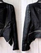 czarna kurtka zip 2 w 1 ramoneska chanelka skóra