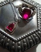 srebrny komplet w różu pierścień i zawieszka