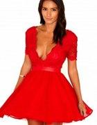 Czerwona sukienka koronkowa Asos