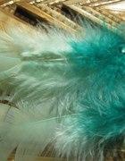 kolczyki pióra piórka miętowe morskie ethno boho