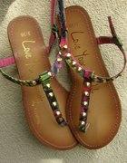 r36 sandałki japonki kolorowe ze złotymi ćwiekami