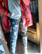 Floral jeans coral coat...