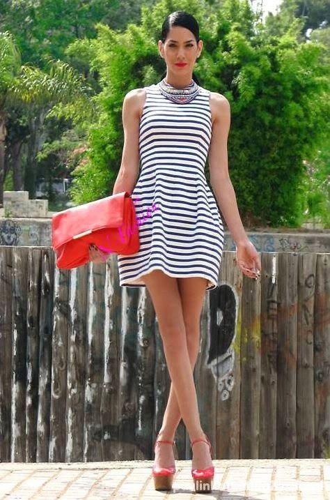 Sukienka zara paski tulipan stripe sailor marine