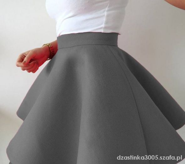 Spódnice szara stojąca spódniczka