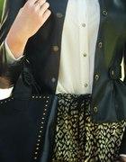 Czarna ramoneska z baskinką 36 S złote guziki FIGL