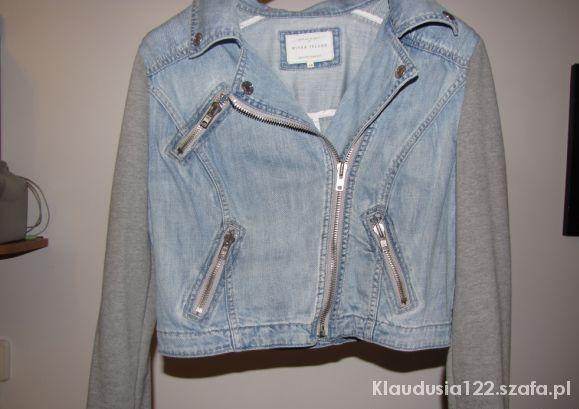 Ramoneska jeansowa z dresowymi rękawa River Island...