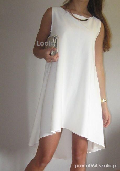 579ad9560a Trapezowa Biała sukieneczka L w Suknie i sukienki - Szafa.pl