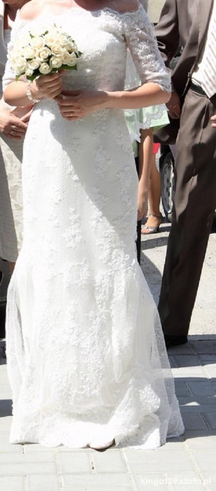 Suknia ślubna Madonna Ivory Hiszpańska Koronka W Suknie ślubne