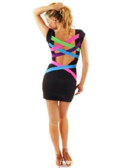 b17514c87d neonowe paski na plecach sukienka na lato mini w Suknie i sukienki ...