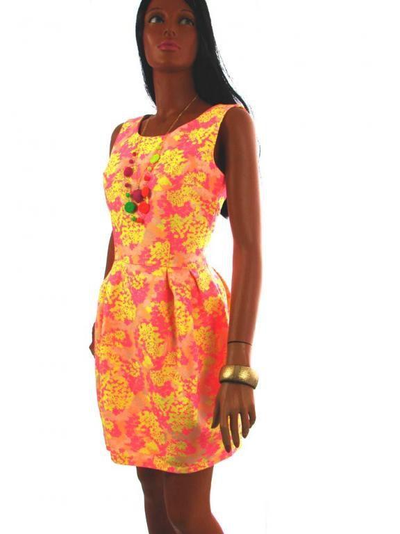 b390f37af29247 Sukienka rozkloszowana neonowa fluo zip 36 w Suknie i sukienki ...