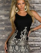 Cudowna sukienka czarna ze złotymi wzorami
