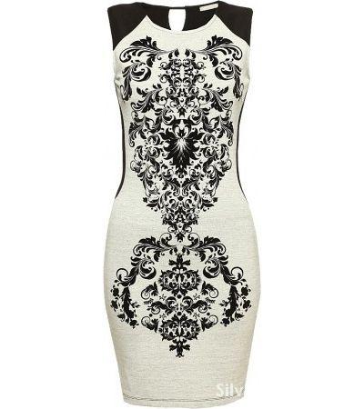 ORSAY sukienka bodycon we wzory szaro czarna