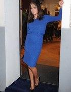 Sukienka simple kobaltowa błyszcząca...