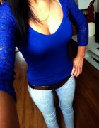 Kobaltowa Koronkowa Bluzka Bershka